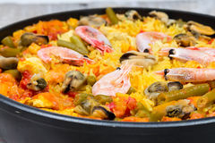 Paella with seafood Royalty Free Stock Photo