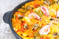 Paella with seafood Royalty Free Stock Photos