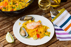 Paella served in plate Royalty Free Stock Images