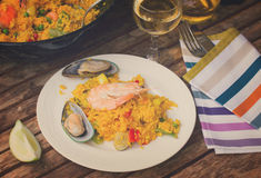 Paella served in plate Royalty Free Stock Photos
