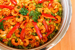 Paella. With shrimps Stock Images