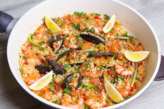 Paella with shrimps and mussels Royalty Free Stock Photos