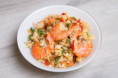 Paella with shrimps and mussels Royalty Free Stock Image