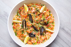 Paella with shrimps and mussels Stock Images