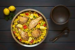 Paella spagnola del pollo Fotografie Stock Libere da Diritti
