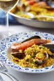 Paella spagnola tipica dei frutti di mare Fotografia Stock