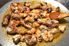 Paella from Spain recipe fry chicken Royalty Free Stock Image