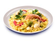 Paella, spanish food Stock Photos