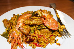 Paella. Spanish Mediterranean dish made of meat and fish Stock Images