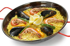 Paella , spanish rice dish Royalty Free Stock Image