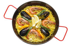 Paella , spanish rice dish Stock Photos