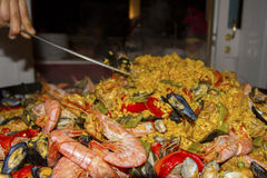 Paella. A time of paella preparation Royalty Free Stock Image