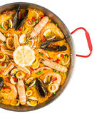 Paella - traditional spanish food, top view Royalty Free Stock Photos