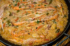 Paella, Traditional Spanish rice with seafood Royalty Free Stock Photos