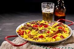 Paella traditionnelle savoureuse d'Al Homo d'Espagnol Image libre de droits