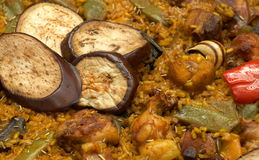 Paella/typical spanish dish with rice. And vegetables Stock Photography