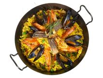 Paella in una vista superiore pan- immagine stock