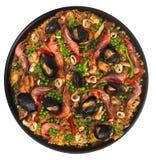 Paella Valencian dei frutti di mare fotografia stock