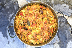 Paella. Valencian dish of Spanish food and very good Royalty Free Stock Photography