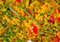 Paella and vegetables, vegetarian recipe. Stock Photo