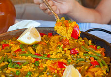 Paella and vegetables, vegetarian recipe. Stock Image