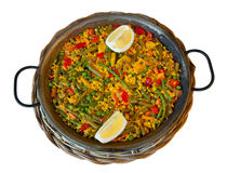 Paella and vegetables, vegetarian recipe. Royalty Free Stock Photography