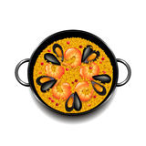 Paella  on white vector Stock Images