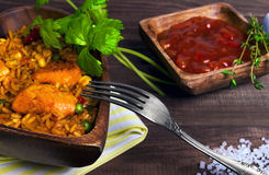 Paella On a wooden table Royalty Free Stock Photo