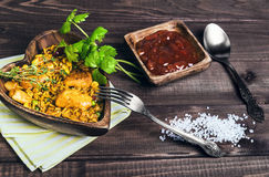 Paella On a wooden table Royalty Free Stock Image