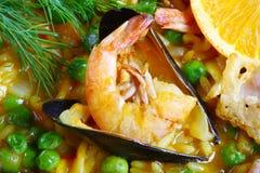 Paellaessbare meerestiere köstlich Stockfoto