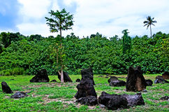 Paengariki-marae im Aitutaki-Lagunen-Koch Islands Lizenzfreies Stockbild