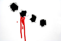 Paer hole. A black hole in white paper with blood Stock Photo
