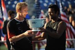 Paes u. Dlouhi Doppelt-Championen US öffnen 2009 Lizenzfreie Stockfotografie