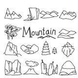 Paesaggi della montagna del fumetto messi con le colline del deserto illustrazione di stock