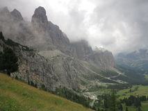 Paesaggi delle montagne delle dolomia, Corvara in Badia Alta Badia, Italia Fotografia Stock