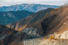 Paesaggi delle montagne, Repubblica di Altai, Russia nave Fotografie Stock