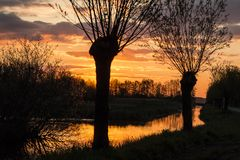 Paesaggi nei Paesi Bassi, paesaggi olandesi immagini stock