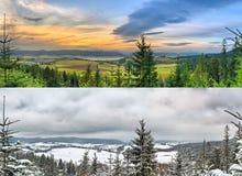 Paesaggi panoramici - 2 stagioni Immagini Stock Libere da Diritti