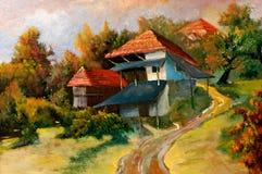 Paesaggi sulla tela di canapa dell'olio Fotografia Stock