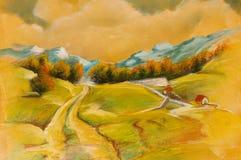 Paesaggi sulla tela di canapa dell'olio Fotografie Stock