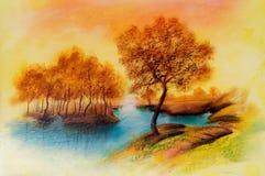 Paesaggi sulla tela di canapa dell'olio Fotografia Stock Libera da Diritti