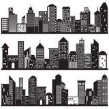 Paesaggi urbani e progettazione delle siluette della costruzione Fotografia Stock