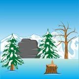 Paesaggio abbandonato di inverno illustrazione di stock