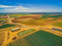 Paesaggio aereo dei campi del raccolto Fotografia Stock Libera da Diritti