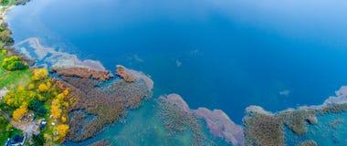 paesaggio aereo del lago Fotografia Stock