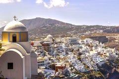 Paesaggio aereo del villaggio di Fira - Santorini fotografia stock libera da diritti