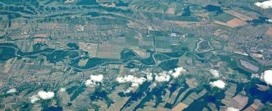 Paesaggio aereo - fiume Fotografie Stock