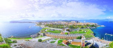 Paesaggio aereo panoramico di bella estate Punto di vista dell'ANC immagine stock