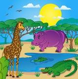 Paesaggio africano con gli animali Illustrazione Vettoriale
