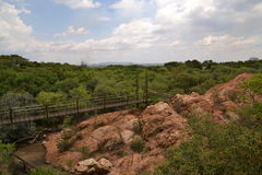 Paesaggio africano con il ponte di attaccatura Fotografie Stock Libere da Diritti